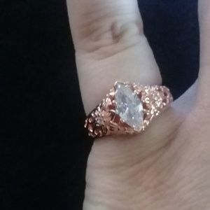 Rose gold and cubic zircon ring size 7